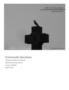 With All of Our Hearts Summer 2014 Community Devotions Vineyard