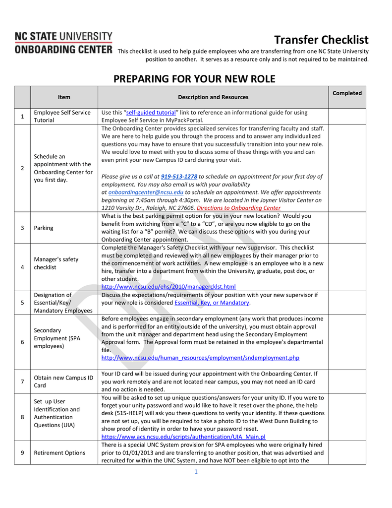 Transfer Employee Checklist