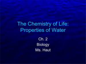 Ch. 2-2 Properties of Water