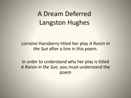 "langston hughes poem ""harlem dream deferred "" a dream deferred"