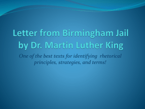 Letter from Birmingham Jail by Dr. Martin Luther King One of the