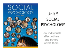 Unit 5 SOCIAL PSYCHOLOGY