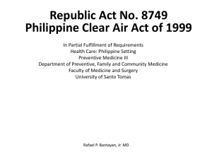 Philippine Clean Air Act of 1999.