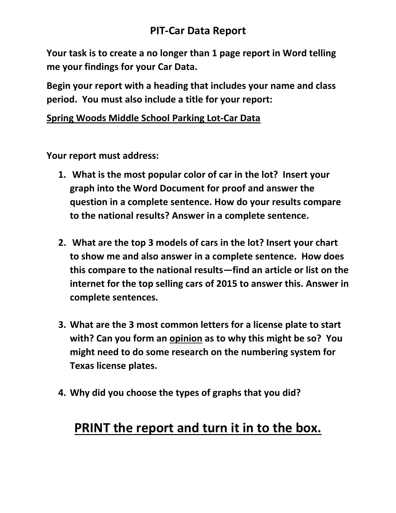 car data report
