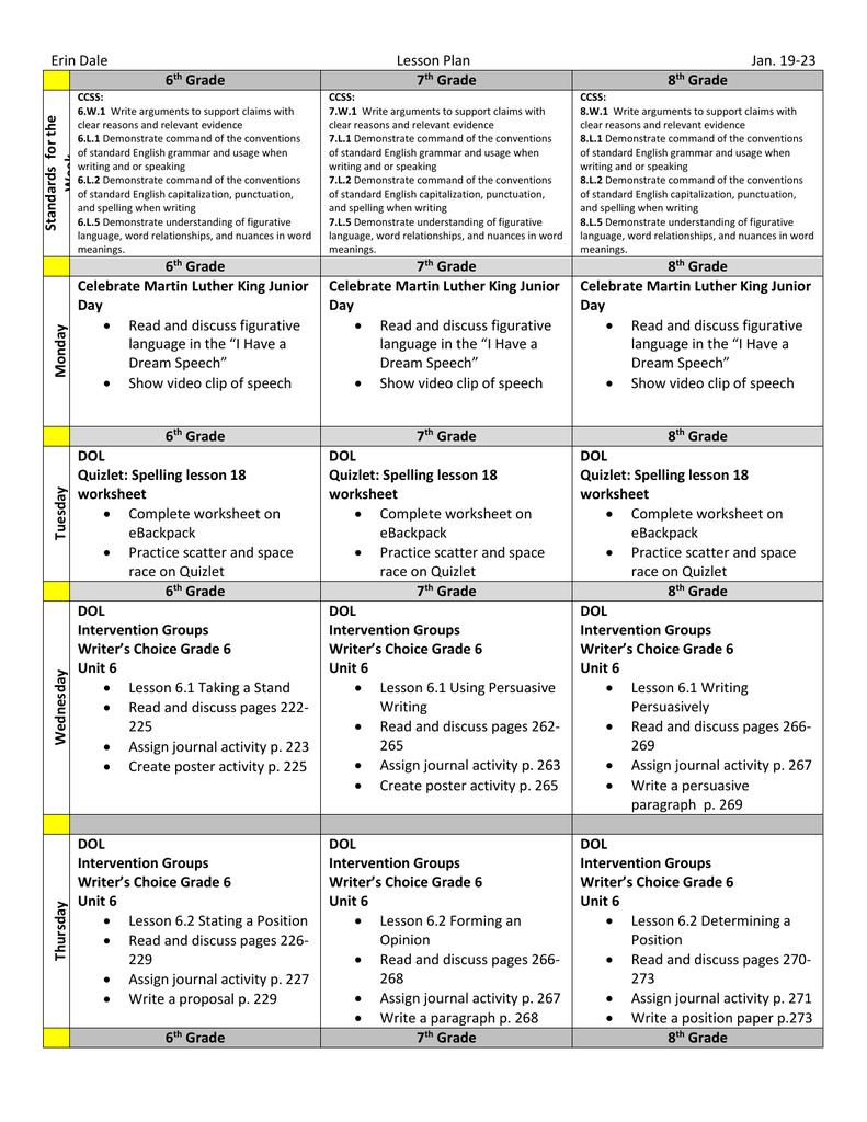 Erin DaleLesson PlanJan 1923 6th Grade 7th Grade 8th Grade – 7th Grade Spelling Worksheets
