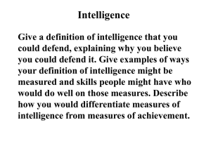 Intelligence: Overview & Psychometric Approach