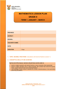 mathematics lesson plan grade 9 term 1: january – march