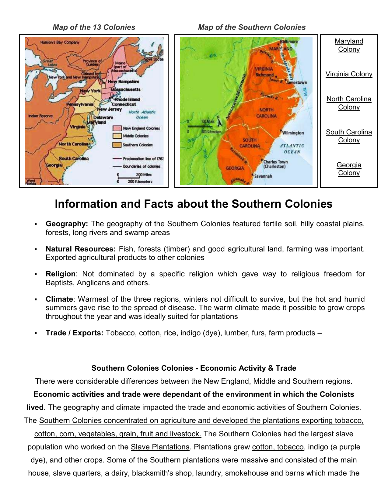 Map Of Georgia Colony.Information And Facts About The Southern Colonies