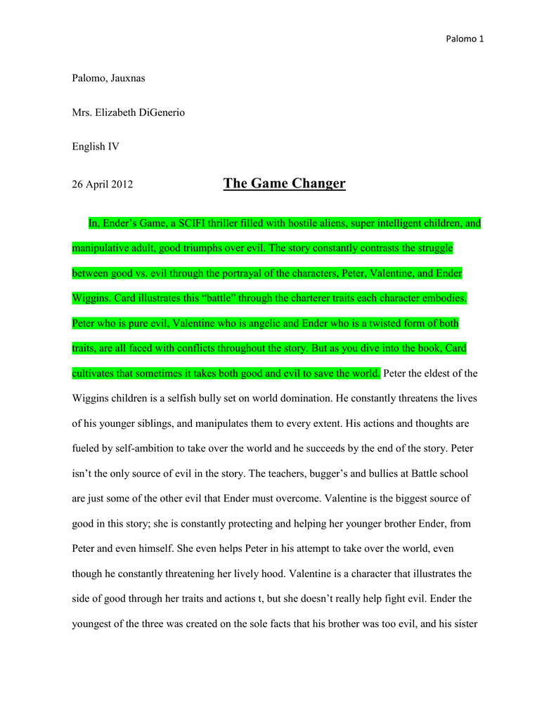 enders game essay manipulation