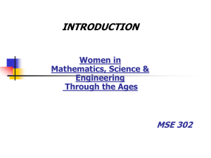 Introduction To Women in Sciences Thru The Ages