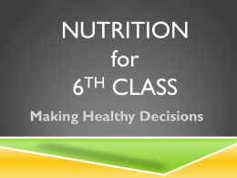 Nutrition for 6th Class NKETS