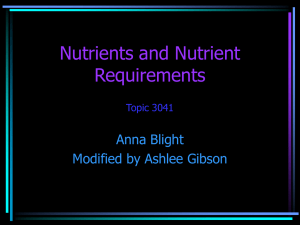 Nutrients and Nutrient Requirements (modified)