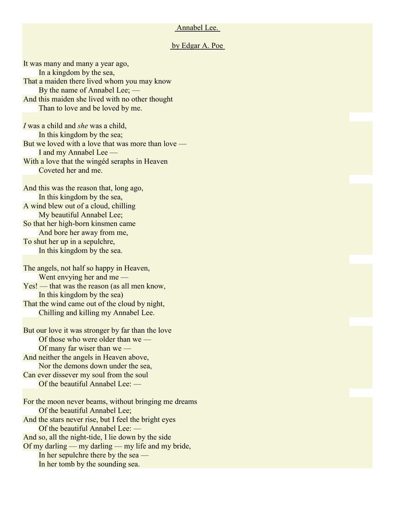 Annabel Lee Theme Of Love