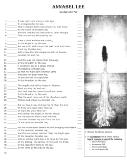 """annabel lee and romanticism Annabel lee  poe's """"annabel lee"""" is """"the simplest and sweetest of his ballads,"""" second only to """"the raven"""" in popularity, and is widely recognized as one of the great lyric poems of the english language."""