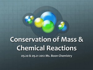 Conservation of Mass & Chemical Reactions