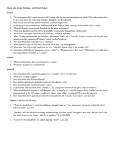Much Ado About Nothing - Act I Study Guide Scene i The messenger