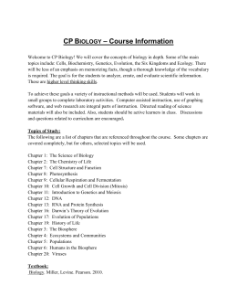 College Prep Biology Syllabus