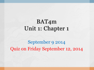 September 10 Chapter 1 BAT4M