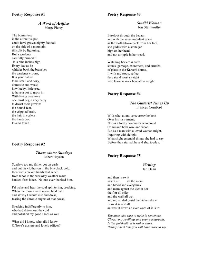 Poetry Response Poems 3rd Quarter