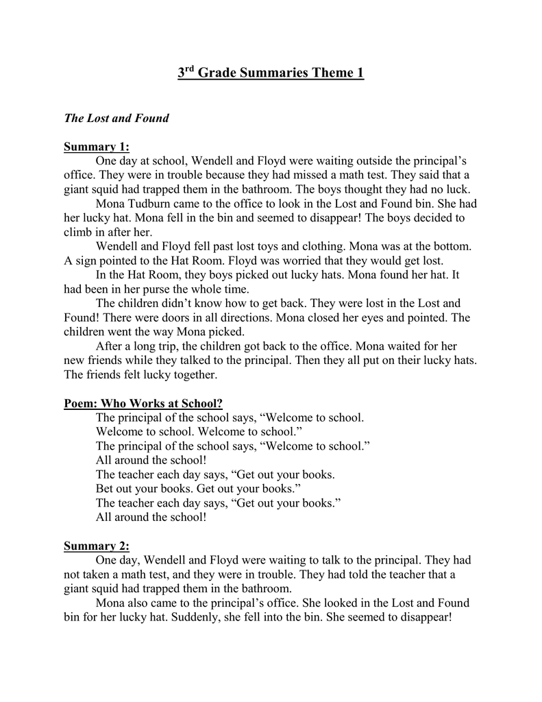 3rd Grade Summaries Theme 1
