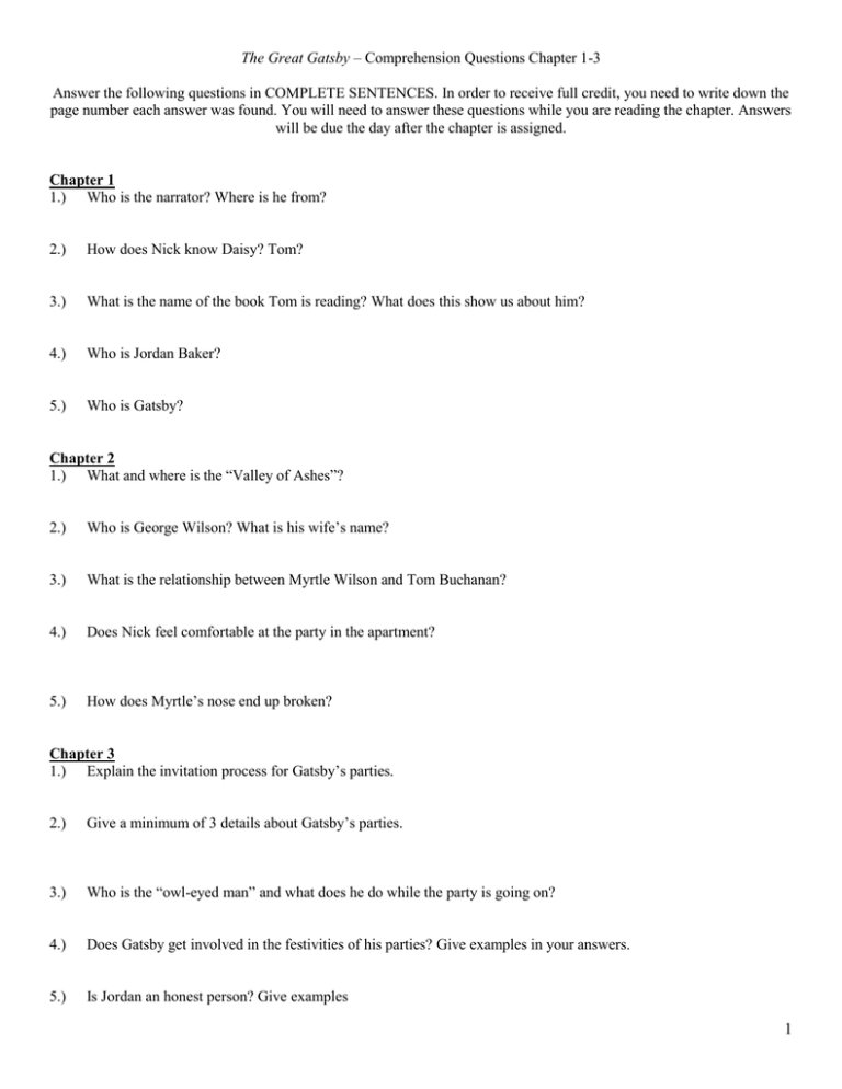 The great gatsby study questions answers chapter 1 how to write a book title in apa style