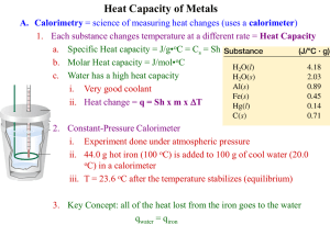 Heat Capacity of Metals PreLab