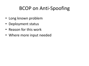 BCOP on Anti-Spoofing