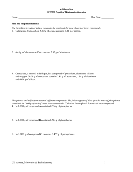 Percent Composition and Molecular Formula Worksheet Key