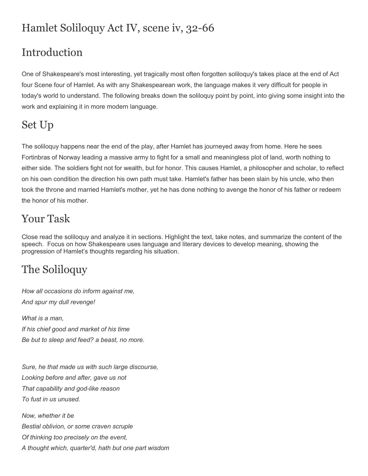 Workbooks shakespeare worksheets : Hamlet Soliloquy 4.4 Worksheet