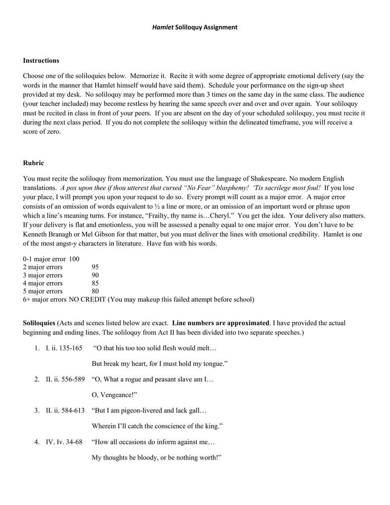 Hamlet Soliloquy Instructions