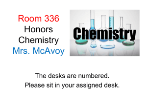 Regents & Honors Chemistry Course Expectations Mrs. McAvoy, Rm