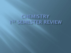 Chemistry 1st Semester review