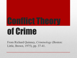 6/5 – Conflict Theory - Deviance & Social Pathology