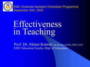 Effectiveness in Teaching - Learning, Teaching and Assessment
