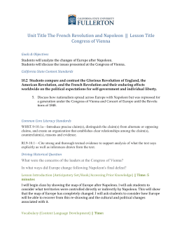Lesson Plan - The French Revolution and Napoleonic Wars