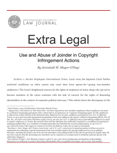 Use and Abuse of Joinder in Copyright Infringement