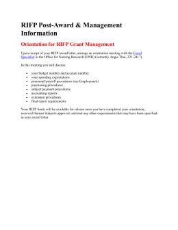 Orientation for RIFP Grant Management