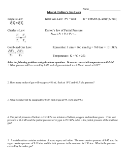 Worksheet - Mixed Gas Law Worksheet
