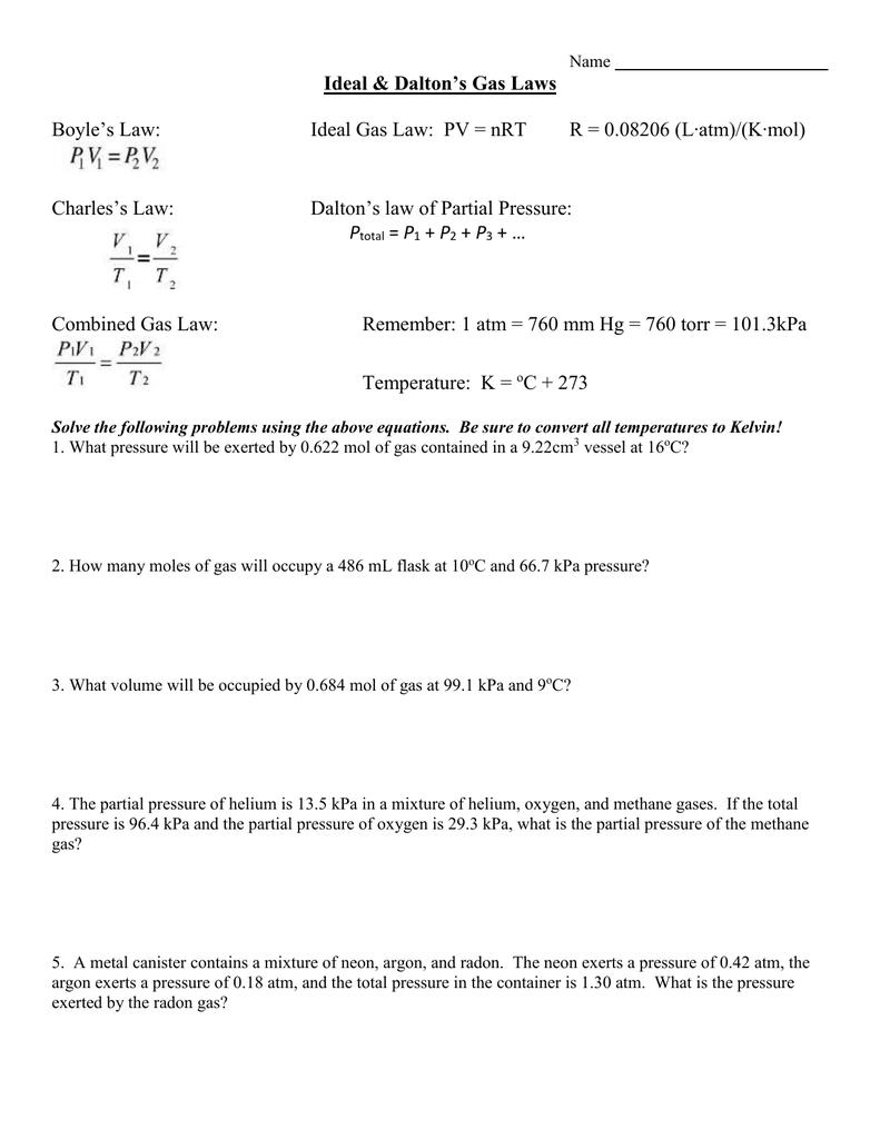 Ideal & Dalton's Gas Laws