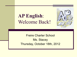 AP English: Welcome Back!