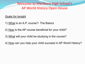 Why Take AP World History - Marlboro Central School District