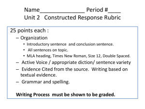 Unit 1 Constructed Response Rubric