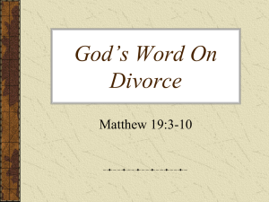 God's Word On Divorce - Lake Forest church of Christ