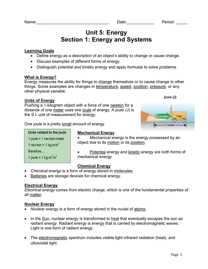 Unit 5 Section 1 Notes and Worksheets Answer Key - WAHS