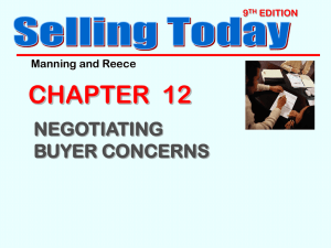 NEGOTIATING BUYER CONCERNS Selling Today