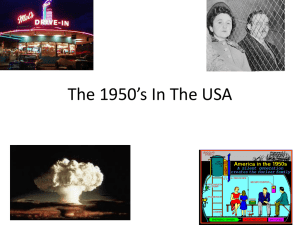 The 1950's In The USA