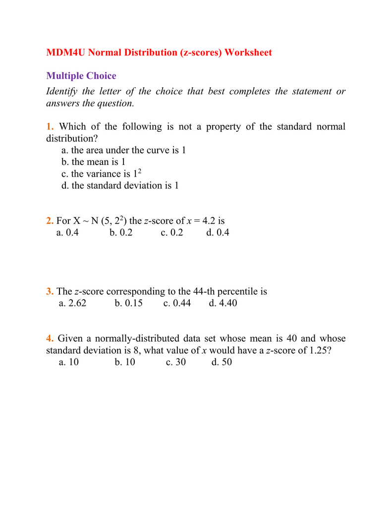 worksheet Z-score Worksheet mdm4u normal distribution z