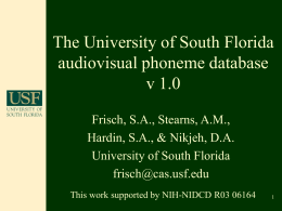 The University of South Florida audiovisual phoneme