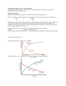 AP Chemistry Chapter 14 Notes – Chemical Kinetics Chemical