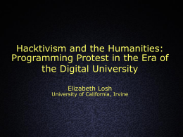 Hacktivism and the Humanities
